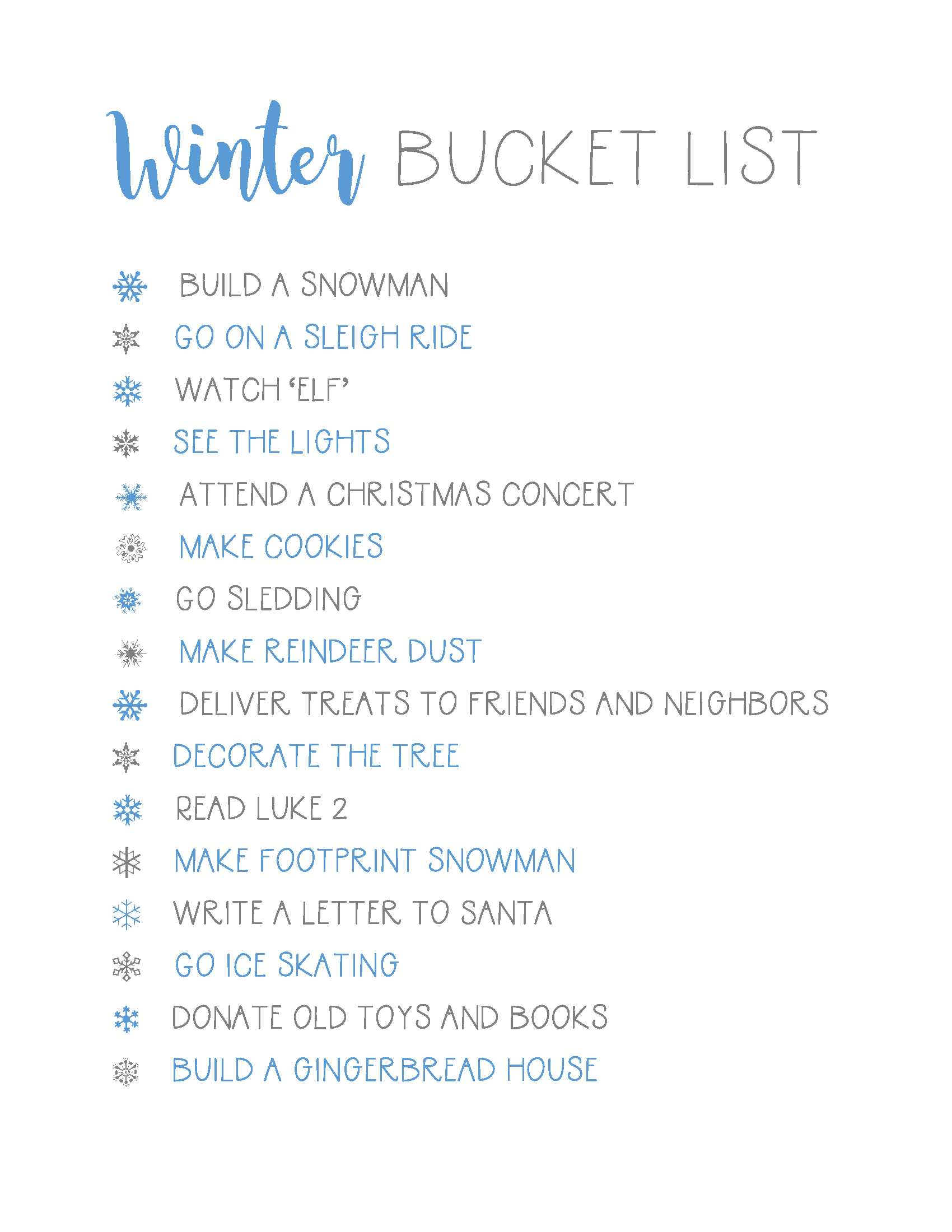 Winter Bucket List {plus a FREE printable}