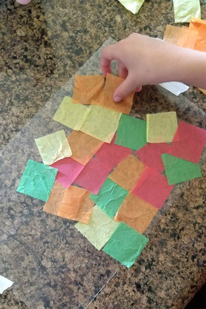 Then I used my scissors to cut the strips into squares.  There is a little bit of prep in cutting up the tissue paper, but a little goes a long way and you can always save the extra for another day.