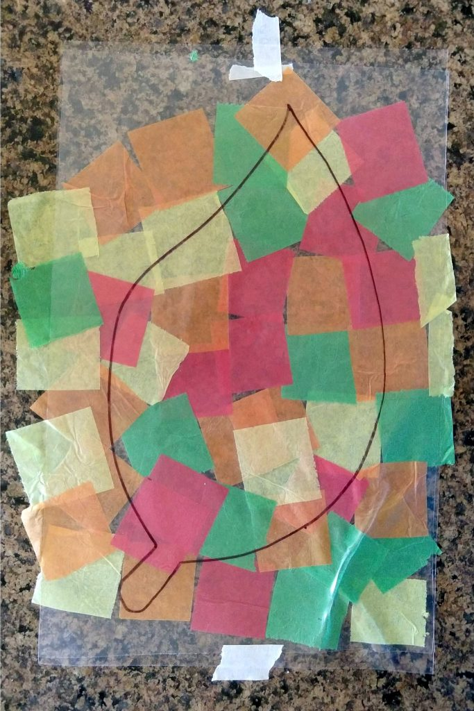 Then I used my scissors to cut the strips into squares.There is a little bit of prep in cutting up the tissue paper, but a little goes a long way and you can always save the extra for another day.