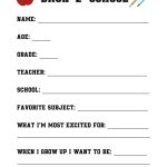 Back To School Questionnaire {Free Printable}