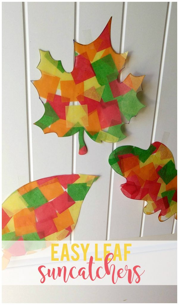 Easy leaf suncatchers made using contact paper and tissue paper is the perfect fall kids craft.