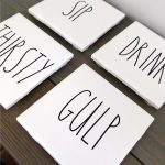 These Rae Dunn inspired coasters are so cute and easy to make. Perfect to add to my collection!