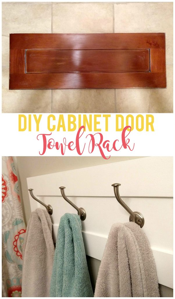 Repurpose an old cabinet door into a custom towel rack for the bathroom, pool area or anywhere else you need to hang towels! So much cheaper than buying a new one.