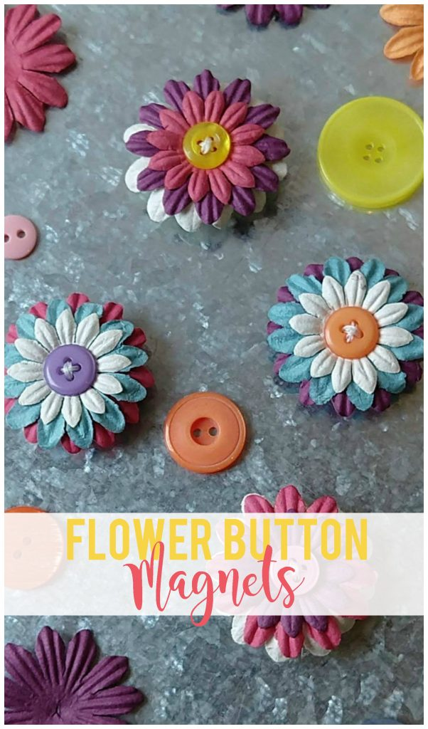 I made four of these flower button magnets in 15 minutes! So easy and so cute! Perfect for gifts for teachers, friends, family, co-workers and neighbors.