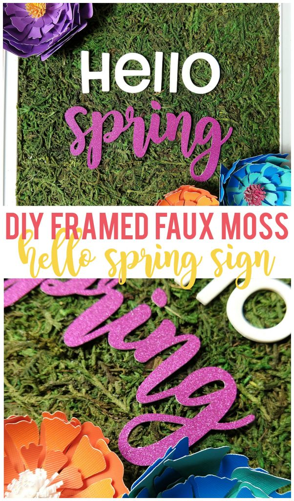 Make your own DIY framed faux moss spring sign to brighten up your home!  In less than 30 minutes, you can have a new spring sign!