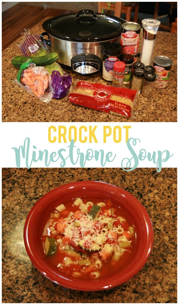 Crock Pot minestrone soup is a yummy meatless meal alternative that also serves a large group.  Plus the leftovers (if there are any) are delicious!
