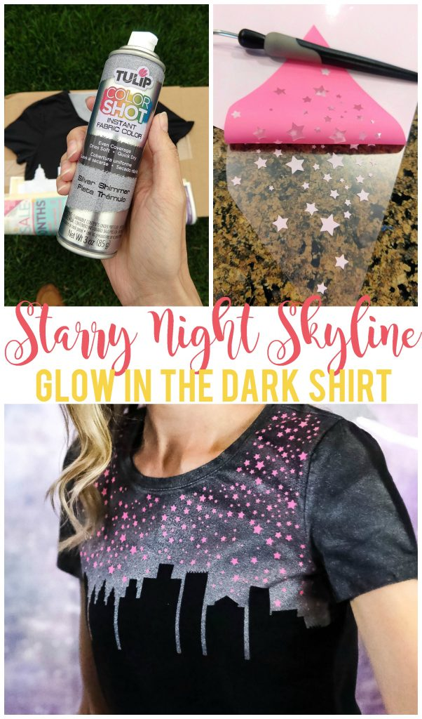 This starry night skyline glow in the dark shirt is fun, unique and sure to get you compliments! Use Tulip Color Shot fabric spray, glow in the dark heat transfer vinyl and a freezer paper stencil to create this shirt.