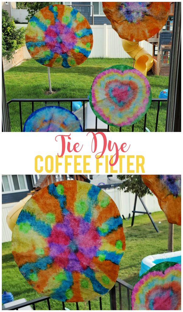 This tie dye coffee filter craft is easy and fun for all ages!  I even got in on the fun and made one with the kids.  You can do this activity any time of year and it's great for ages 2+.