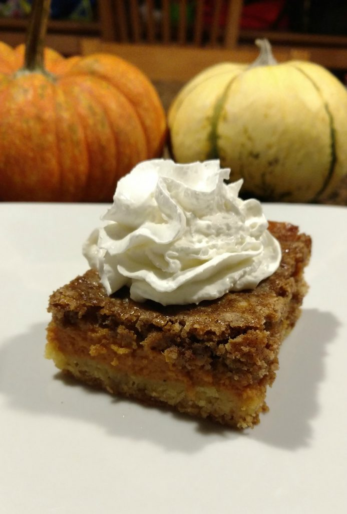 Pumpkin cake has been a family favorite of ours for years.  We actually stopped making pumpkin pie and make this instead every year for Thanksgiving!  Yes, it is that good.