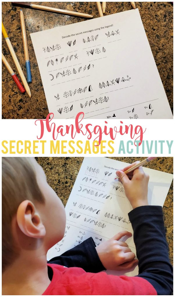 This fun Thanksgiving decoding activity will keep your kids busy (and laughing) while dinner is prepared.  Also great for homeschool units!