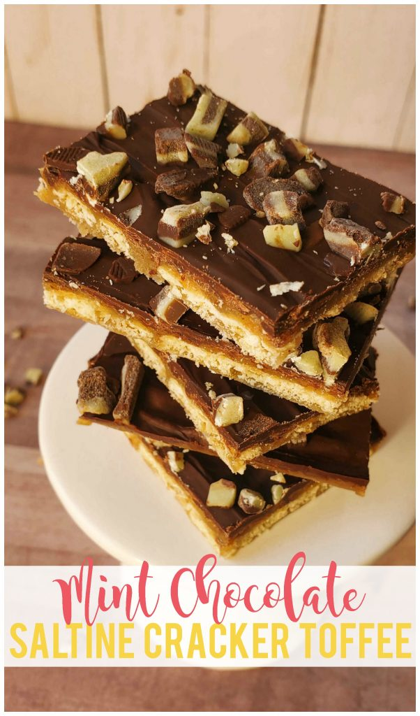 Mint chocolate saltine cracker toffee is the perfect sweet and salty treat!  Perfect for parties and there are so many possible variations!