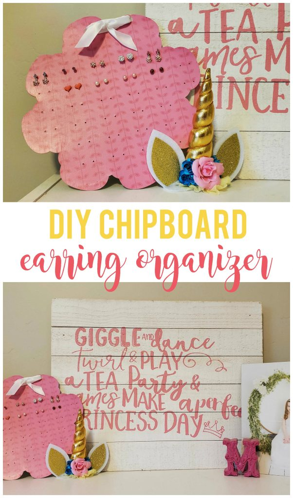 This DIY Girls Chipboard Earring Organizer can be cut into any shape you want!  Display it on a shelf or hang it on the wall to keep those earrings organized.