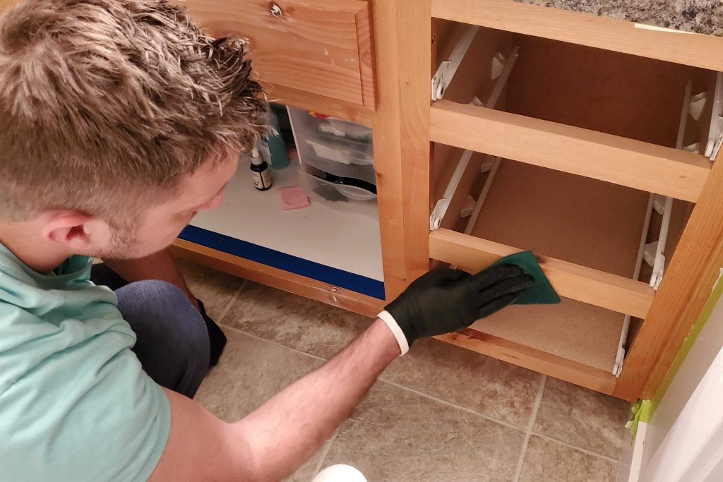 The Rustoleum Cabinet Transformations Kit is easy, requires no sanding or priming and is a great way to update outdated cabinets!