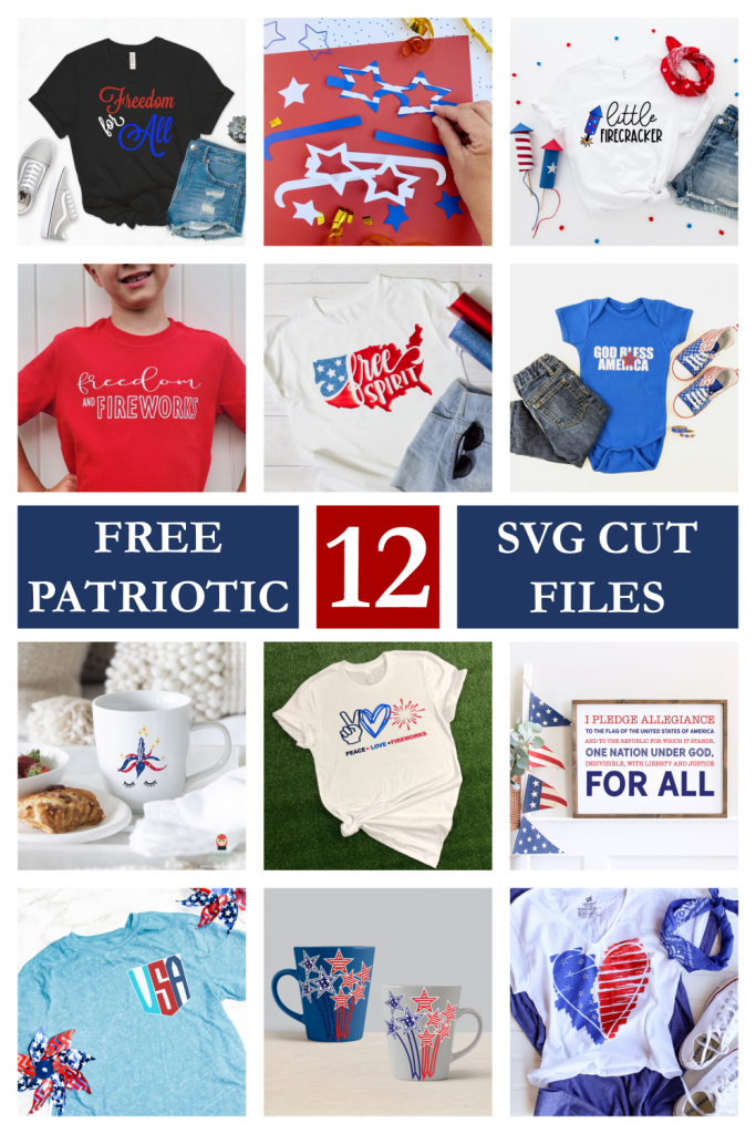 12 FREE 4th of July/Patriotic SVG files!  Perfect for shirts, home decor, scrapbooking and more!