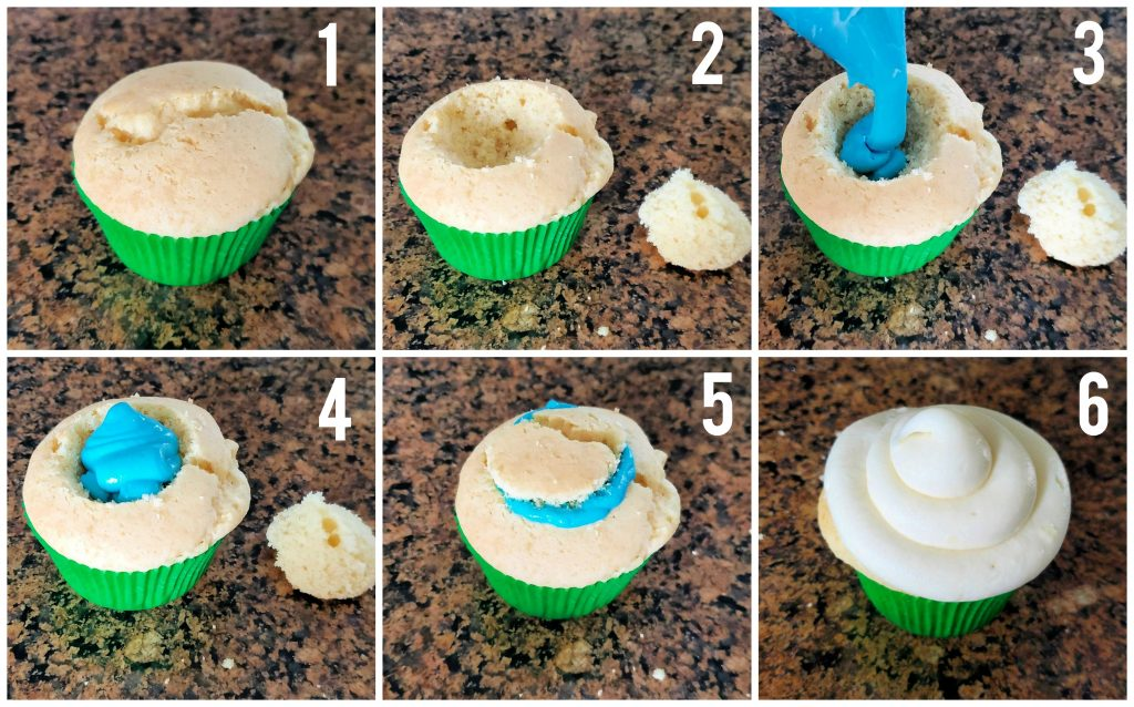 Easy cupcake gender reveal idea that uses cake mix and frosting!  A fun and easy way to involve your kids or the whole family in the gender reveal.