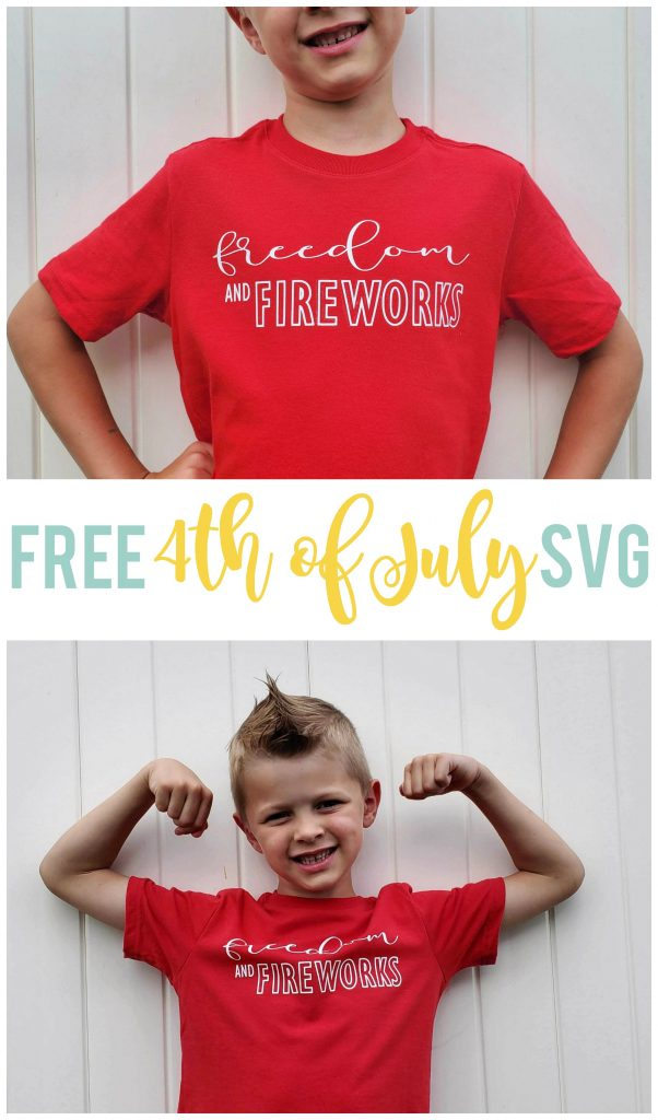 This Freedom and Fireworks 4th of July SVG file is FREE and perfect for t-shirts, scrapbooking, home decor and more!  (Plus find 11 other free 4th of July SVG files.)