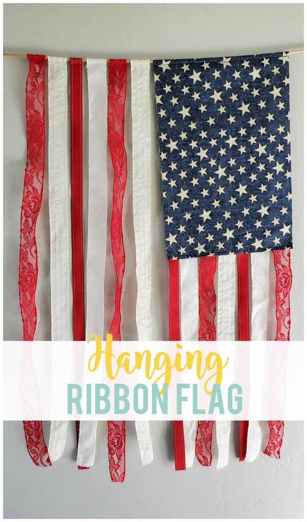This DIY hanging ribbon flag gives the perfect touch of patriotism to your 4th of July or Memorial Day decor.   Plus, it's so easy to store!