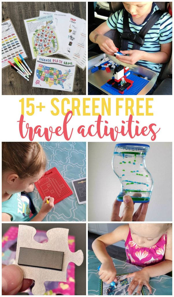 Having screen free travel activities for my kids when we are in the car is important to me.  Whether I need to keep them happy and entertained for an hour or two while we drive to visit family or we're looking at a longer trip, I've come up with some great activities (including some you may have never heard of before)!