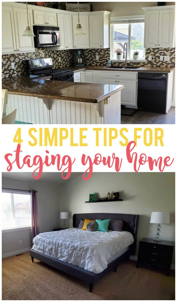 Staging your house to sell doesn't have to be overwhelming. By using each of the four tips I share, you'll have your home ready to sell in no time!