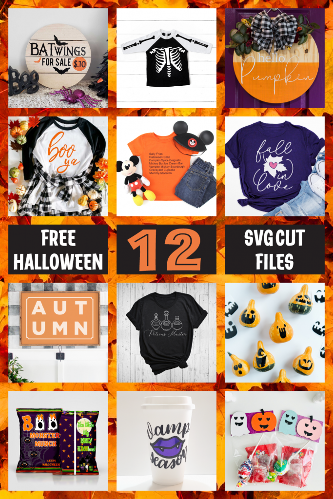 Get 12 free Halloween SVG cut files to use in your decor and more!