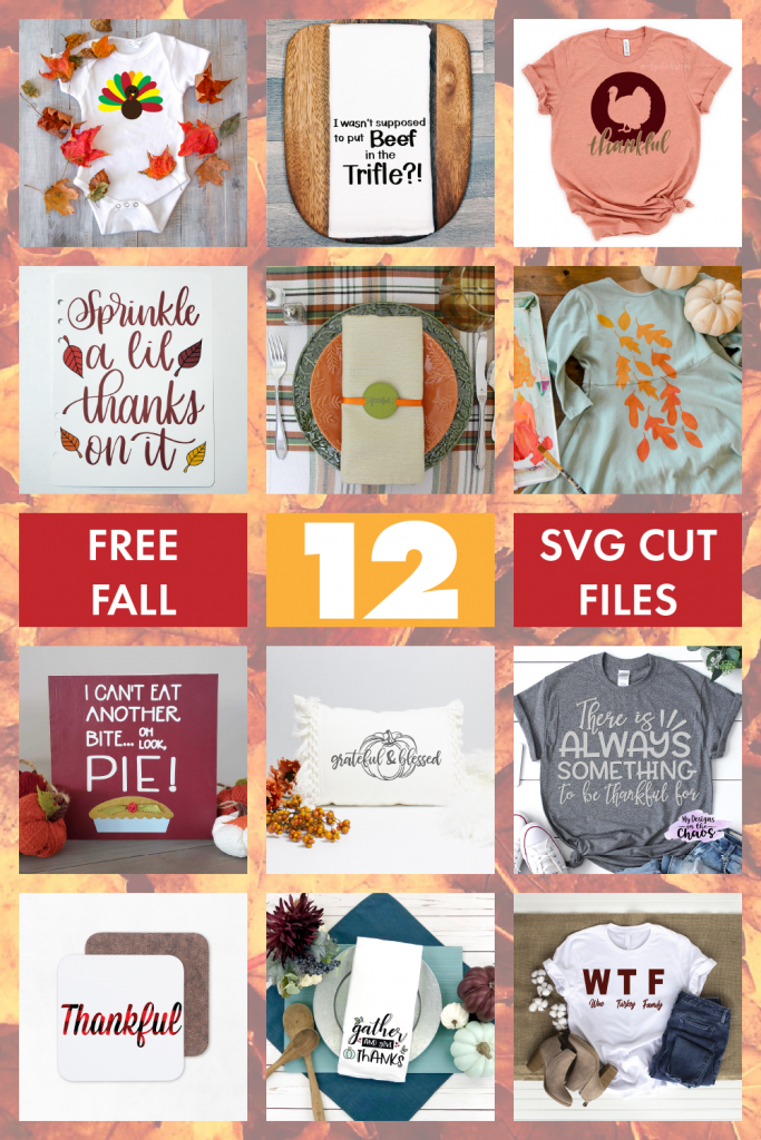 12 FREE Thanksgiving SVG files are perfect for decor, shirts, scrapbooking and more!