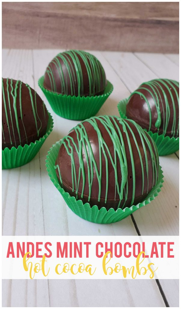 Andes Mint Chocolate Hot Cocoa Bombs - If mint and chocolate are a favorite combination of yours, then don't miss these delicious Andes mint hot cocoa bombs!