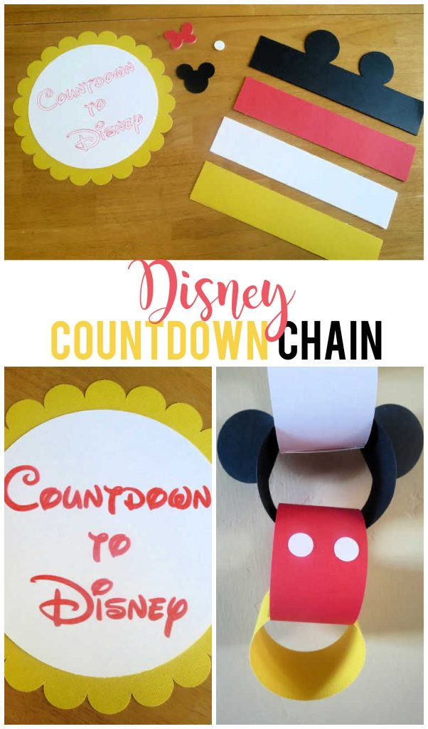 Countdown to Disney with this darling Mickey Mouse inspired chain.  You can even change up the colors and add a bow for a Minnie Mouse chain! Grab the FREE cut file today!