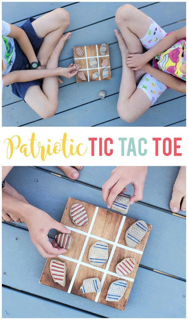 Use rocks and dimensional fabric paint for this fun and easy patriotic tic tac toe game!  Makes a great decoration that can also be played with.