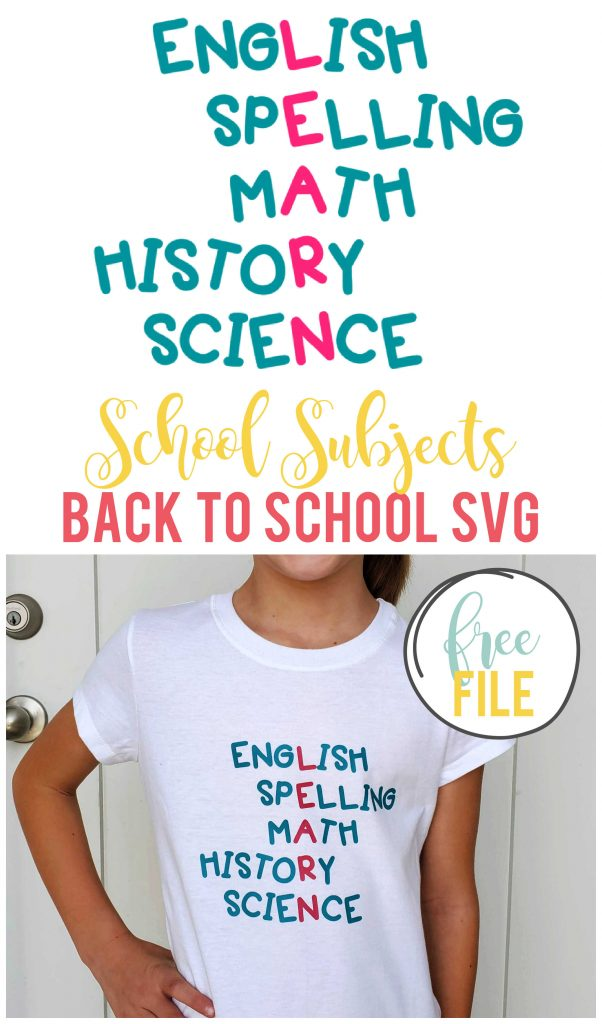 Download and use this school subjects back to school SVG in a variety of ways this upcoming school year!  Plus get 19 other free back to school files.